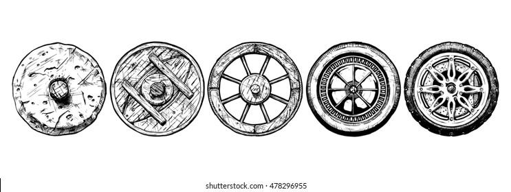 hand drawn illustration of the wheel evolution set. Set in ink hand drawn style. stone wheel, antique wooden wheel, spoked wheel, steel wheel, modern alloy wheel