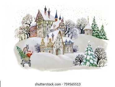 Hand drawn illustration with winter landscape and snowy houses in village
