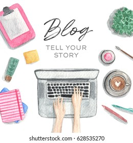 Hand Drawn Illustration of a Workspace, Top View. Workplace of a Girl Blogger With a Laptop.