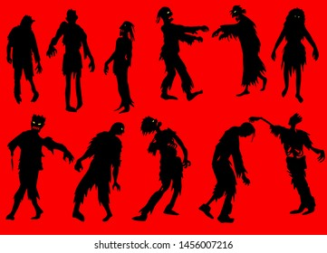 Hand Drawn Illustration of Zombie silhouettes set
