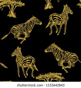 hand drawn illustrations in ink gold Zebra animal on black seamless background for use in design, pattern for fabrics, textiles, Wallpaper, paper
