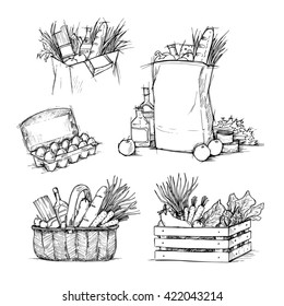 Hand drawn illustrations - Shopping bags with healthy food. Grocery store. Supermarket.