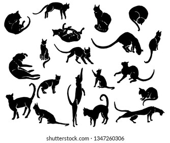 Hand Drawn Ink Cat Silhouettes