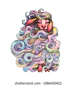 Hand drawn ink and colored pencils illustration of sheep. Fairy animal, magical creature. Kids illustration