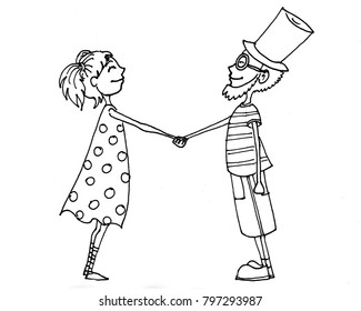 Hand drawn ink illustration of boy and girl
