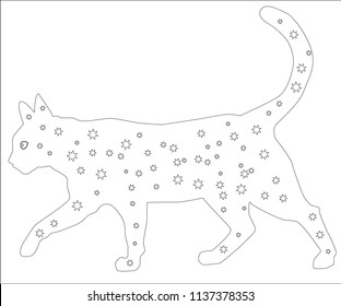 Hand drawn ink pattern. Coloring book for adult.  illustration cat