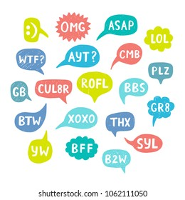Hand Drawn Internet Acronyms, Abbreviations in Chat Bubbles. Networking and conversation. Illustration