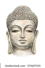 Hand drawn Isolated Buddha head, which is in deep meditation executed in watercolor. Buddha Purnima Background