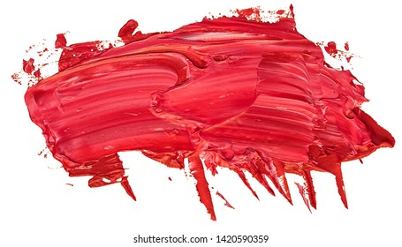 hand drawn isolated paintbrush stripe with dirty red colo