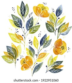 Hand drawn isolated watercolour florals on white background