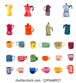 Hand drawn Italian moka coffee makers and espresso cups.  26 original watercolor drawings.