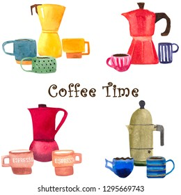 Hand drawn Italian moka coffee makers and espresso cups.  4 compositions. Coffee time.