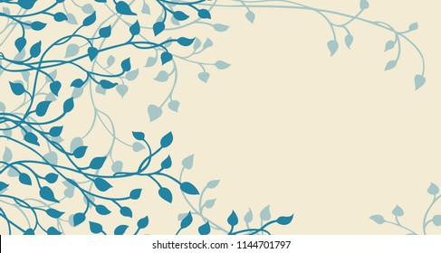 hand drawn ivy and vines in blue layered on a yellow background in a pretty border of leaves climbing in a floral nature pattern for wedding announcements or invitations and website headers
