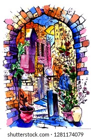 Hand drawn of Jaffa in Israel . Watercolor sketch illustration . Illustration of city street. Watercolor Art .
