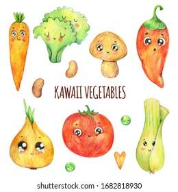 Hand drawn kawaii vegetables set. Cute food illustration. Cartoon vegetables: leek, onion, salad leaves, carrot, tomato, beans, champignon, peas. Isolated on the white background. Kids menu
