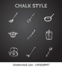Hand drawn kitchen sketches set. Collection of basic colander, kitchen hammer, ladle sketch elements.
