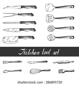 Hand drawn Kitchen Utensils Set. Sketch.