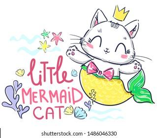 Hand drawn kitten mermaid. Fantasy cute cat. Print design for baby t-shirt.