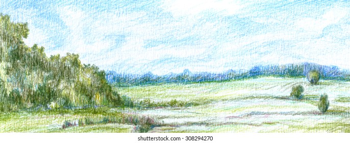 Hand drawn landscape with green trees, bushes and forest on horizon