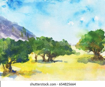 Hand drawn landscape with olive trees, mountains, blue sky. Watercolor nature european background. Painting countryside plantation illustration