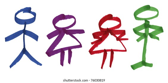 Hand drawn large colorful permanent ink marker stick figures of generic male and female symbols and fun couple of characters with attitude, great details of the paper's fibers.