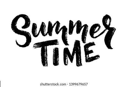 hand drawn lettering about Summer. Isolated calligraphy for travel agency, beach party. Great design for postcard, t-shirt or poster.