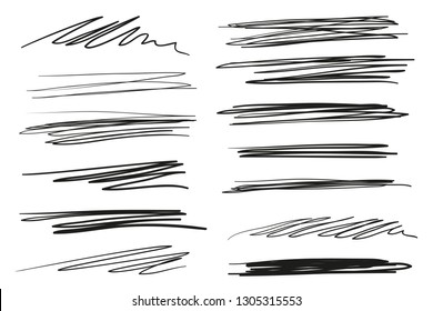 Hand drawn lettering underlines on white. Abstract backgrounds with array of lines. Stroke chaotic patterns. Black and white illustration. Sketchy elements for posters and flyers