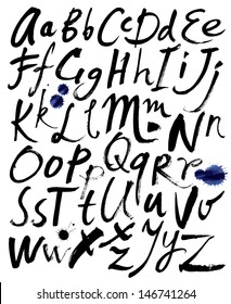 Hand drawn letters. Letters of the alphabet written with a brush.