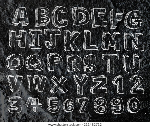 Hand Drawn Letters Font Written On Royalty Free Stock Image