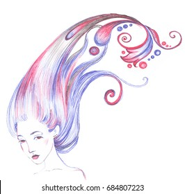 Hand drawn line cute girl