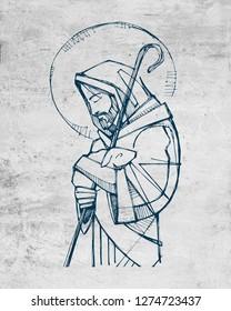 Hand drawn llustration or drawing of Jesus Christ Good Shepherd