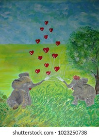 hand drawn Loving elephants on a colorful meadow with hearts to the sky art for children