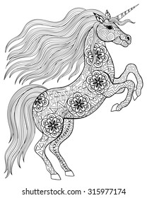 Hand drawn magic Unicorn for adult anti stress Coloring Page with high details isolated on white background, illustration in zentangle style. Monochrome sketch. Animal collection.