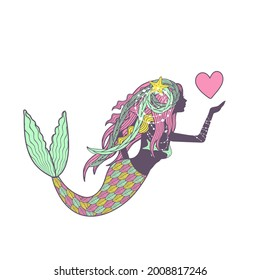 Hand drawn mandala mermaid in pastel colors, holding pink heart, bewutiful long hair, isolated on white background. Stock illustration.