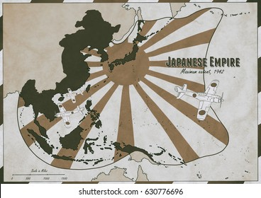 Hand drawn map of Japanese Empire at it's largest extent in 1942. Map features vintage aircraft drawings. Original Illustration.