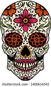 Hand drawn mexican sugar skull isolated on white background. Design element for poster, card, banner, t shirt, emblem, sign.
