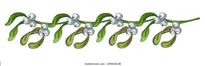 Hand drawn mistletoe wreath. Watercolor Christmas plant background. Romantic Christmas illustration. Greeting card design. Watercolor mistletoe. Winter template.