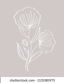 Hand drawn modern flowers drawing and sketch floral with line-art,  illustration wedding design for t-shirts, bags, for posters, greeting cards.