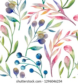 Hand drawn multicolored watercolor light pattern with berries, leaves, flower buds