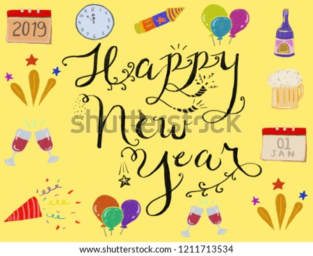 hand drawn new year icons border with happy new year in yellow background