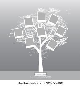 Hand drawn oak tree. Family tree. Vintage style for retro design.