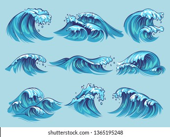 Hand drawn ocean waves. Sketch sea tidal blue waves tide splash hand drawn surfing storm wavy water doodle isolated vintage set