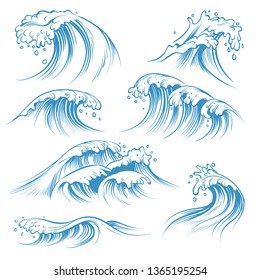 Hand drawn ocean waves. Sketch sea waves tide splash. Hand drawn surfing storm wind water doodle isolated vintage elements