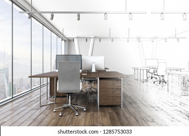 Hand drawn office interior with city view. Design and architecture concept. 3D Rendering