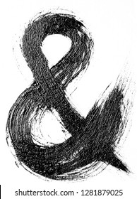Hand drawn oil painting ampersand for your design. Hand painted with ink brush. Decorative retro typographic elements with swirls. Hand lettering and calligraphy.