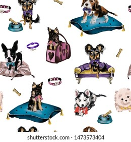 Hand drawn oil painting cute cartoon seamless pattern illustration dog and accessories on the white background for baby textile, cloth, apparel, linen, wallpaper texture. Digital painting.