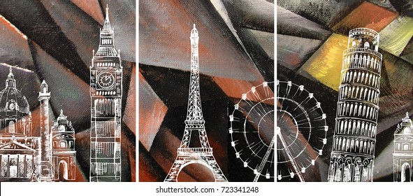 Hand drawn oil painting - triptych. Abstract art background on canvas. London, Paris, Pisa. Travel. In Interior Modern, Contemporary art. Red, gold geometric