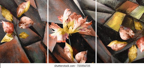 Hand drawn oil painting - triptych with flower, leaves. Abstract art background on canvas. texture. In Interior Modern, Contemporary art. Colorful