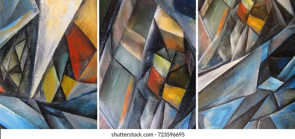 Hand drawn oil painting - triptych. Abstract art background on canvas. texture.  Brush strokes of paint. Modern, Contemporary art. Colorful