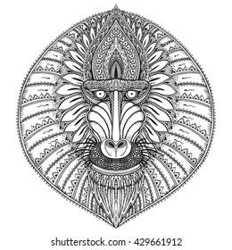 Hand drawn  ornate baboon face illustration.